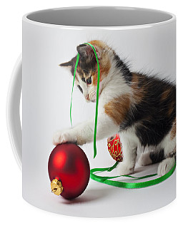 Calico Kitten And Christmas Ornaments Coffee Mug