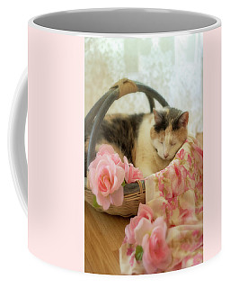 Calico Kitty In A Basket With Pink Roses Coffee Mug
