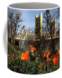 California Poppies With The Slightly Photographically Blurred Sacramento Tower Bridge In The Back Coffee Mug
