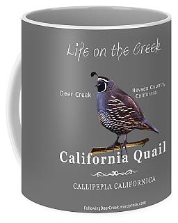 California Quail - Color Bird - White Text Coffee Mug