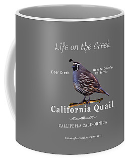 California Quail - Color Bird - White Text Coffee Mug