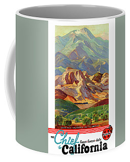 Coffee Mug featuring the mixed media California Restored Vintage Travel Poster by Carsten Reisinger