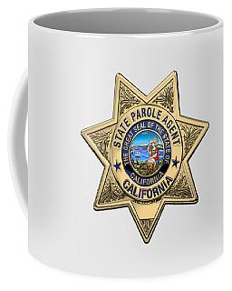 California State Parole Agent Badge Over White Leather Coffee Mug by Serge Averbukh