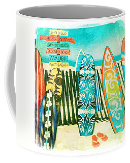California Surfboards Coffee Mug by Nina Prommer