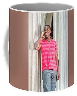 Man Calling Outside Coffee Mug