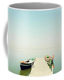 Calm Lake With Two Fishing Boats Coffee Mug