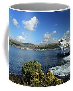 Calmac Ferry Leaving The Cumbrae Slip Coffee Mug by Alex Saunders