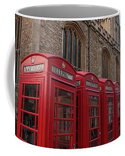 Cambridge Phone Boxes Coffee Mug by David Warrington