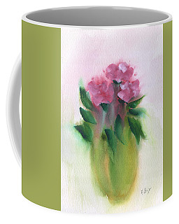 Coffee Mug featuring the painting Camellias Abstract by Frank Bright