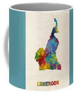 Coffee Mug featuring the digital art Cameroon Watercolor Map by Michael Tompsett