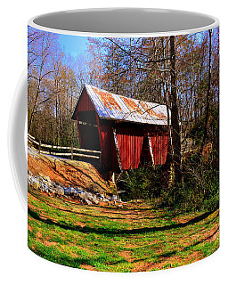 Coffee Mug featuring the photograph Campbell's Covered Bridge Est. 1909 by Lisa Wooten
