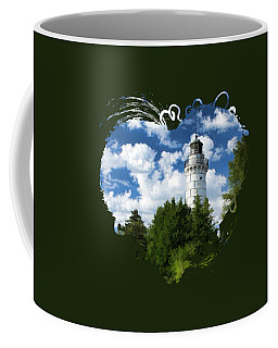 Cana Island Lighthouse Cloudscape In Door County Coffee Mug