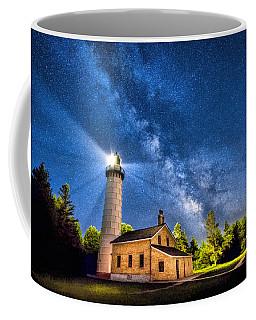 Cana Island Lighthouse Milky Way In Door County Wisconsin Coffee Mug
