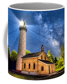 Cana Island Lighthouse Milky Way In Door County Wisconsin Coffee Mug