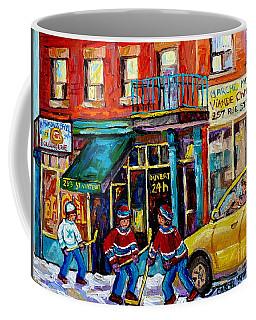 Canadian Art Street Scene Hockey Painting Montreal 375 Rue St Viateur Winter Scene Carole Spandau    Coffee Mug by Carole Spandau
