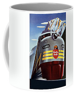 Canadian Pacific - Railroad Engine, Mountains - Retro Travel Poster - Vintage Poster Coffee Mug