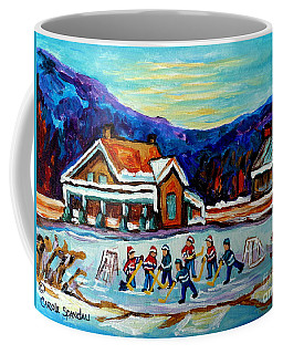 Canadian Painting Pond Hockey Art Cozy Country Cabins Scenes Winter Landscape C Spandau Quebec Art   Coffee Mug