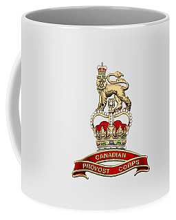 Canadian Provost Corps - C Pro C Badge Over White Leather Coffee Mug by Serge Averbukh