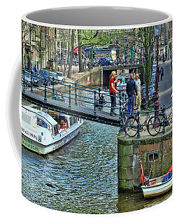 Coffee Mug featuring the photograph Amsterdam Canal Scene 1 by Allen Beatty