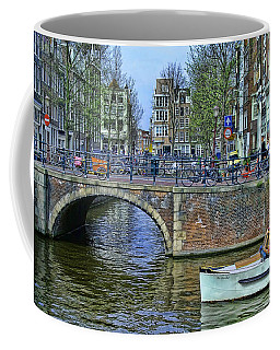 Coffee Mug featuring the photograph Amsterdam Canal Scene 3 by Allen Beatty