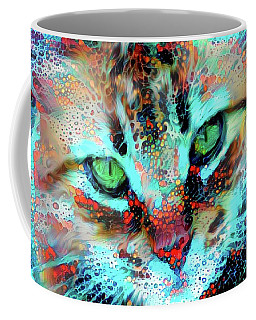 Candy The Colorful Green Eyed Cat Coffee Mug