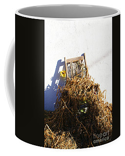 Cane Back Chair And Sunflower Coffee Mug
