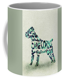 Coffee Mug featuring the painting Cane Corso Watercolor Painting / Typographic Art by Ayse and Deniz