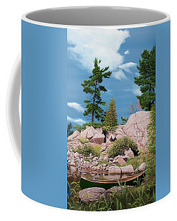 Canoe Among The Rocks Coffee Mug