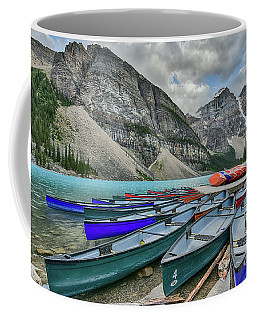 Canoes On Moraine Lake  Coffee Mug