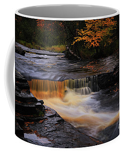 Coffee Mug featuring the photograph Canyon River Falls Gold by Rachel Cohen
