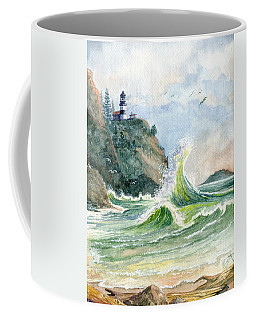 Coffee Mug featuring the painting Cape Disappointment Lighthouse by Marilyn Smith
