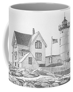 Coffee Mug featuring the drawing Cape Neddick Light House Drawing by Dominic White