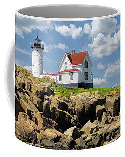 Coffee Mug featuring the painting Cape Neddick Lighthouse by Christopher Arndt