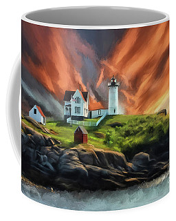 Coffee Mug featuring the digital art Cape Neddick Nubble Lighthouse by Lois Bryan