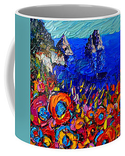 Capri Faraglioni Italy Colors Modern Impressionist Palette Knife Oil Painting By Ana Maria Edulescu  Coffee Mug