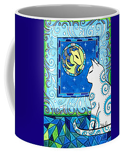 Coffee Mug featuring the painting Capricorn Cat Zodiac by Dora Hathazi Mendes
