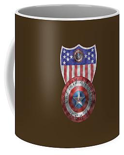 Captain America Shields On Gold  Coffee Mug by Georgeta Blanaru