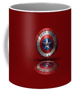 Captain America Team Typography On Captain America Shield  Coffee Mug by Georgeta Blanaru