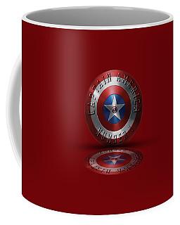 Captain America Typography On Captain America Shield  Coffee Mug by Georgeta Blanaru