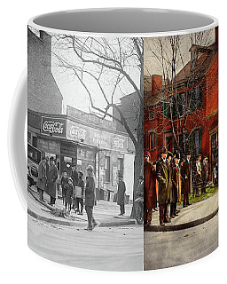 Coffee Mug featuring the photograph Car - Accident - Looking Out For Number One 1921 - Side By Side by Mike Savad
