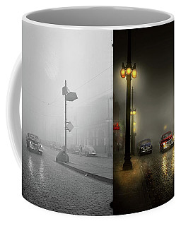 Coffee Mug featuring the photograph Car - Down A Lonely Road 1940 - Side By Side by Mike Savad