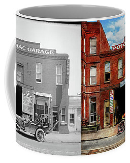 Coffee Mug featuring the photograph Car - Garage - Misfit Garage 1922 - Side By Side by Mike Savad