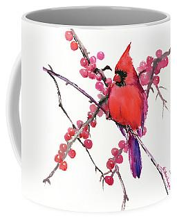 Cardinal And Berries Coffee Mug