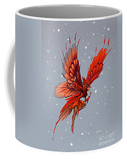 Coffee Mug featuring the digital art Cardinal Fairy by Stanley Morrison