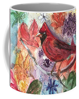 Cardinal In Flowers Coffee Mug