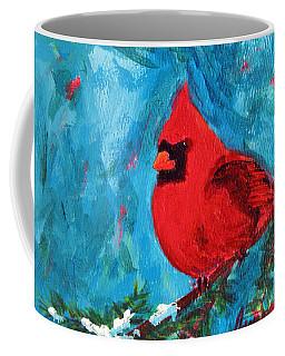 Cardinal Red Bird Watercolor Modern Art Coffee Mug