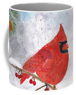 Cardinal With Red Berries And Pine Cones Coffee Mug