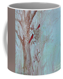 Coffee Mug featuring the painting Cardinals In Trees Whilst Snowing by Robin Maria Pedrero