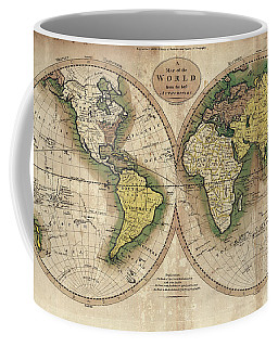 Coffee Mug featuring the photograph Carey's Map Of The World  1795 by Daniel Hagerman