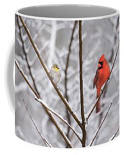 Goldfinch And Cardinal Coffee Mug